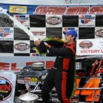 Bobby Santos III celebrates his Whelen Modified Tour Fall Final win in 2012 at Stafford Spedway (Photo: Corey Sipkin/NASCAR)