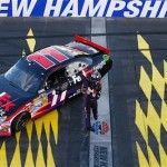 Denny Hamlin after winning the Sylvania 300 at NHMS on Sept 23 (Getty Images for NASCAR)