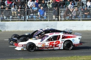 Doug Coby (52) and Ryan Preece battle for position during a Whelen Modified Tour event (Photo: NASCAR)