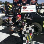 Justin Bonsignore celebrates a Whelen Modified Tour win in 2012 at Thompson International Speedway (Photo: Travis Barrett)