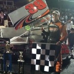 Todd Bertrand celebrates a NEMA victory at the Waterford Speedbowl in 2012