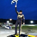 Jeff Rocco celebrates his first SK Modified victory in 2012 at the Waterford Speedbowl