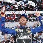 Jimmie Johnson celebrates his second Daytona 500 victory Sunday (Photo: Chris Graythen/Getty Images)