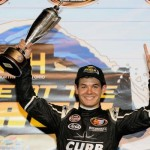 Kyle Larson celebrates victory in the NASCAR Whelen All-American Series event Monday at Daytona International Speedway (Photo: Getty Images for NASCAR)