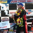 Bobby Santos celebrates victory in the Whelen Modified Tour Spring Sizzler on April 28 at Stafford Speedway (Photo: Alex Trautwig/Getty Images for NASCAR)