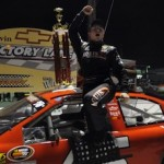 Brandon Gdovic celebrates his win Saturday at Greenville-Pickens Speedway (Photo: Getty Images for NASCAR)
