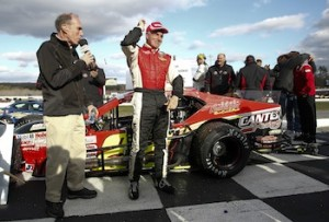 Mike Stefanik celebrates in victory lane at Thompson Speedway in this year's Whelen Modified Tour season opening Icebreaker (Photo: Jeff Zelevansky/Getty Images for NASCAR)