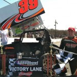 Todd Bertrand celebrates victory Sunday at the Waterford Speedbowl