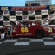 Jeremy Lavoie celebrates his second consecutive DARE Stock victory Friday at Stafford Speedway (Photo: Stephanie Kimball/Stafford Speedway)