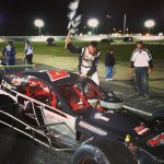 Kyle James celebrates in victory after the SK Modified feature Saturday at the Waterford Speedbowl (Photo: Mark Caise/Waterford Speedbowl)