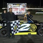 Toby Wells celebrates his first Northeast Mini Stock Tour win Saturday at Wiscasset Speedway (Photo: Northeast Mini Stock Tour)