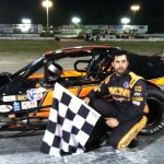 Jeff Rocco celebrates his SK Modified victory Saturday at the Waterford Speedbowl