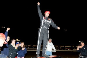 Bobby Santos III celebrates his Whelen Modified Tour Bud 150 victory Thursday at Thompson Speedway (Photo: Darren McCollester/Getty Images for NASCAR)