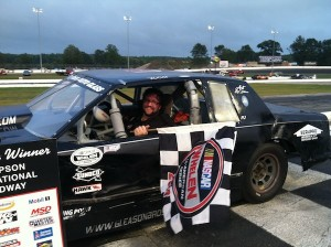 Jesse Gleason celebrates his second Limited Sportsman feature win of the season Thursday at Thompson Speedway