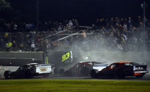 Rowan Pennink's car flips late in the Whelen Modified Tour Bud 150 Thursday at Thompson Speedway (Photo: Darren McCollester/Getty Images for NASCAR)
