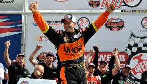 Todd Szegedy celebrates his Whelen Modified Tour victory Saturday at New Hampshire Motor Speedway (Photo: Getty Images for NASCAR)