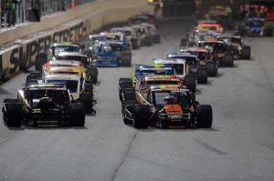 NASCAR Modified Tour cars line up for the running of the Battle at the Beach last February at Daytona International Speedway (Photo: Getty Images for NASCAR)