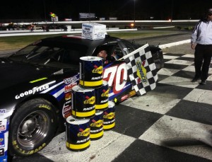 Rick Gentes celebrates a Late Model victory Saturday at Thompson Speedway (Photo: Thompson Speedway)