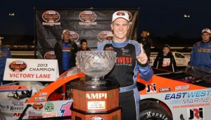 Ryan Preece celebrates his first NASCAR Whelen Modified Tour championship Sunday at Thompson Speedway (Photo: Darren McCollester/Getty Images for NASCAR)
