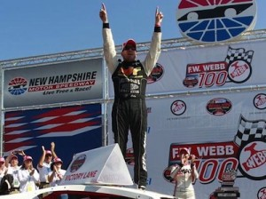 Doug Coby celebrates a victory in 2012 at New Hampshire Motor Speedway (Getty Images  for NASCAR)