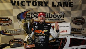 Doug Coby following his Whelen Modified Tour win in 2012 at the Waterford Speedbowl (Photo: Corey Sipkin/NASCAR)