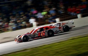 Ryan Preece (16) and Doug Coby (52) battle in the closing laps of the Whelen Modified Tour Mr. Rooter 161 June 22 at the Waterford Speedbowl (Photo: Alex Trautwig/Getty Images for NASCAR)