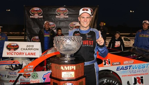 Ryan Preece celebrates his first NASCAR Whelen Modified Tour championship Oct. 20 at Thompson Speedway (Photo: Darren McCollester/Getty Images for NASCAR)
