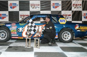 Joey Ferrigno after winning the DARE Stock championship at Stafford Speedway in 2005 (Photo: Driscoll Motorsports Photography)