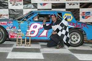 Joey Ferrigno after his first DARE Stock division victory at Stafford Speedway (Driscoll Motorsports Photography)